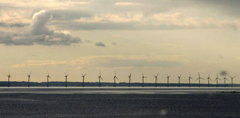 Middelgrunden Wind Cooperative Offshore Wind Farm outside the Harbour of Copenhagen